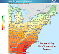 Memorial Day temperatures in the Southeast. (Credit: NWS) Click to Enlarge.