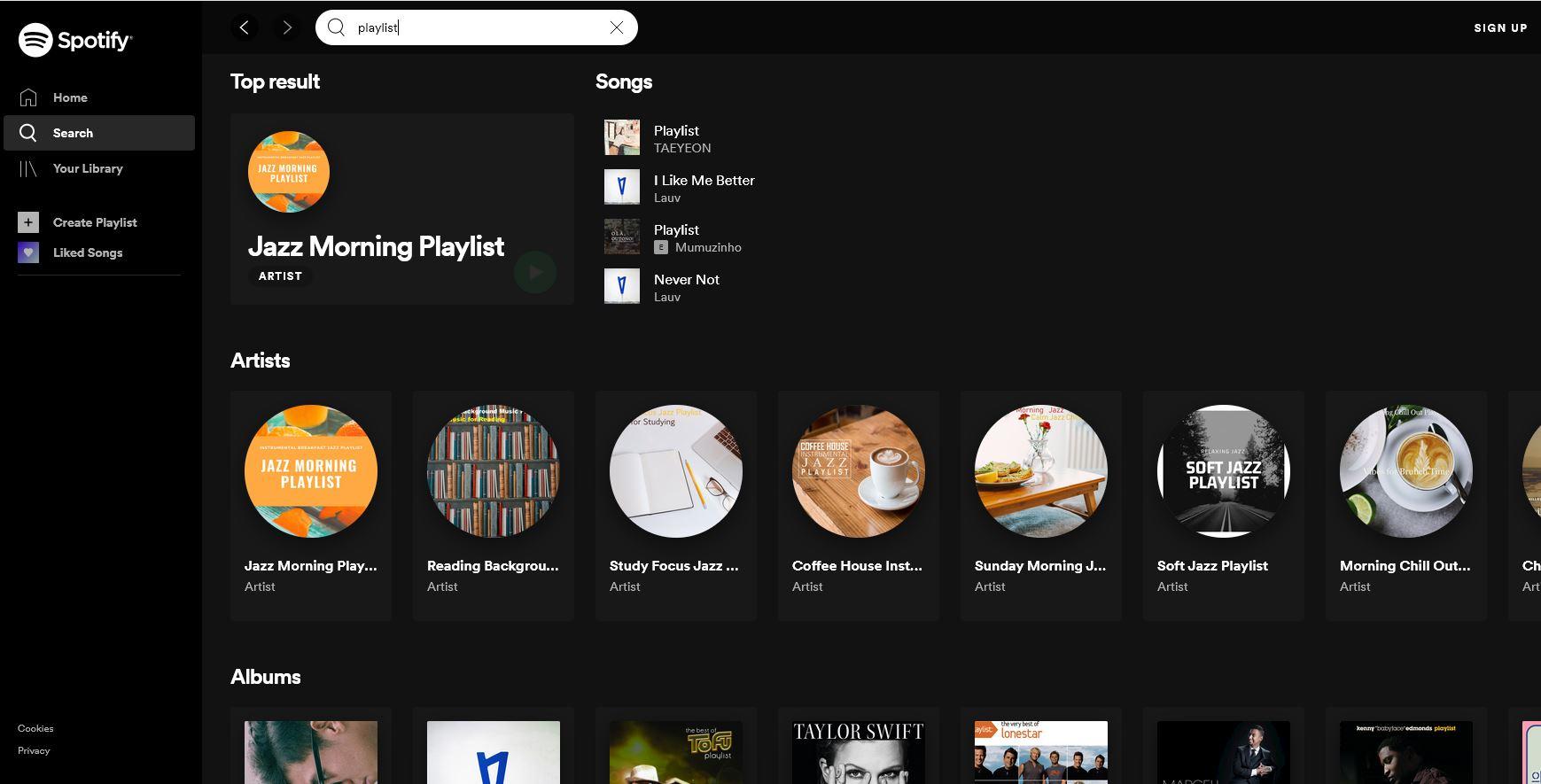 mencari playlist spotify