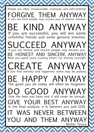 graphic regarding Mother Teresa Do It Anyway Printable known as Cap Creations: Cost-free Printable Mom Teresa Estimate Numerous