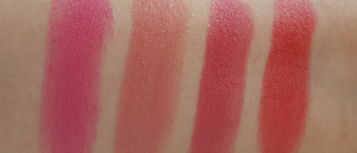 Swatches: L´Oréal Paris - Color Riche Matte Addiction Lipstick - 101 Candy Stiletto - 103 Blush in a Rush - 104 Strike a Rose - 241 Pink-a-Porter