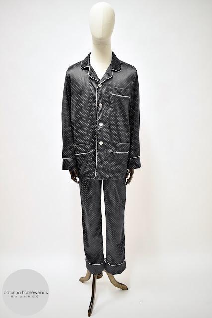 herren pyjama schlafanzug seide schwarz pyjamahose lang edel elegant