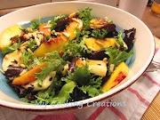 Зелена салата с праскови  и халуми * Insalata con halloumi е pesca