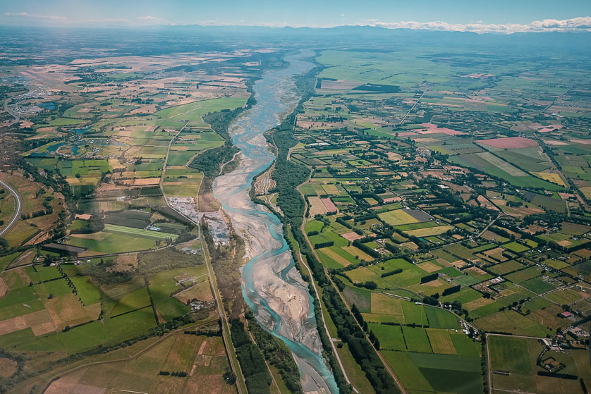View of Canterbury Plains from air, about to land at Christchurch Airport.