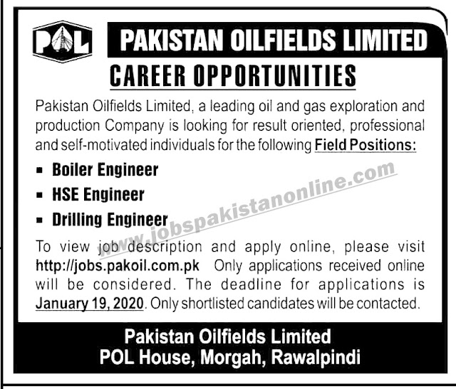 Pakistan Oilfields Limited Jobs for Field Positions | Apply Online Now