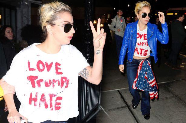 As worn by Lady Gaga - 'Love Trumps Hate' t-shirt. PYGOD.COM