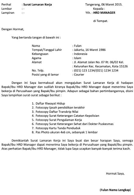 Contoh Surat Lamaran Kerja J T Express