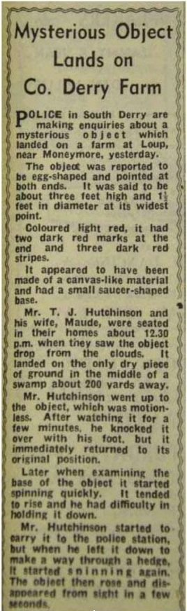 A news clipping describes the events at Moneymore in September 1956.
