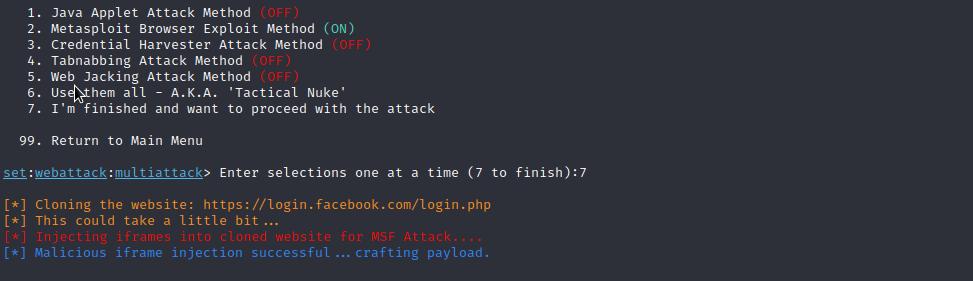 Multi-Attack Web Method - Setoolkit Tutorial