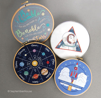 Solar Flair Space Embroidery Patterns for Hand Embroidery by SeptemberHouse