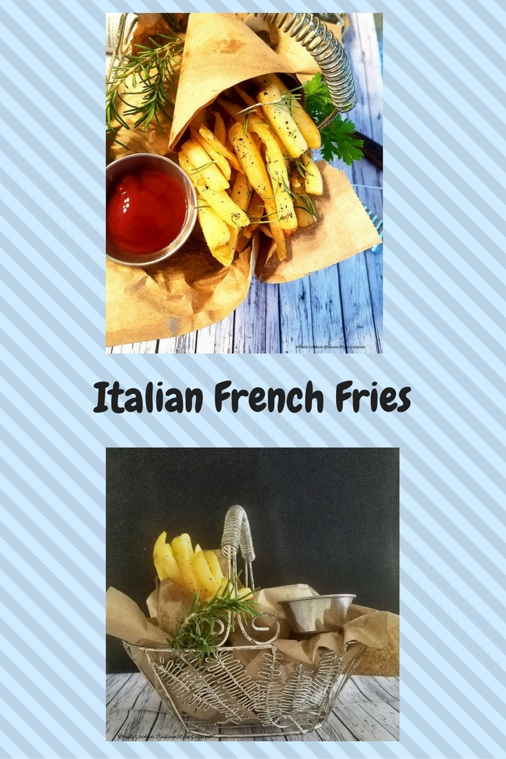 French Fries seasoned with Italian seasoning, crispy fried to perfection. Potatoes or spuds cut like fast food chain french fries that are all spiced up