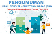 Hasil Tes SKD CPNS Pemkab Boyolali & Peserta yang Masuk Tahap SKB Tahun 2019