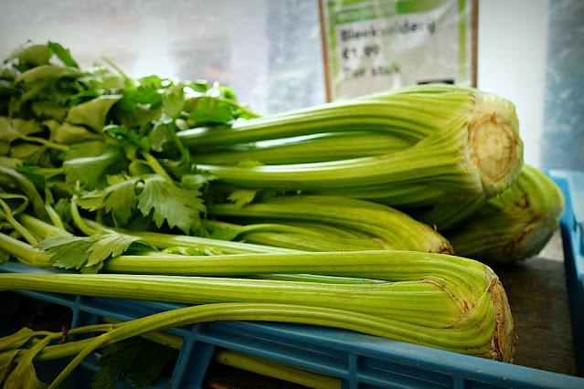 two stalks of fresh celery