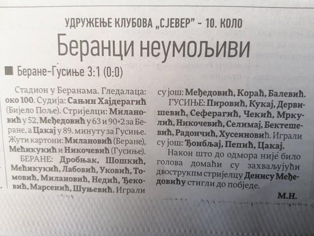 Sjeverna regija: Berane pobijedilo Gusinje 3:1