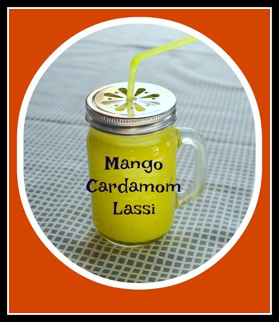 mango cardamom lassi in a mason jar