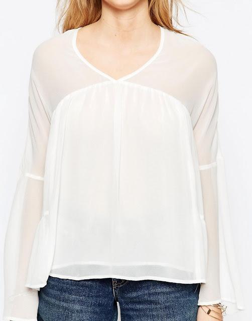 White Long Sleeve Boho Blouse