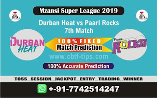 Who will win Today MSL 2019, 7th Match Paarl vs Durban 7th, Mzansi 2019 - MSL T20