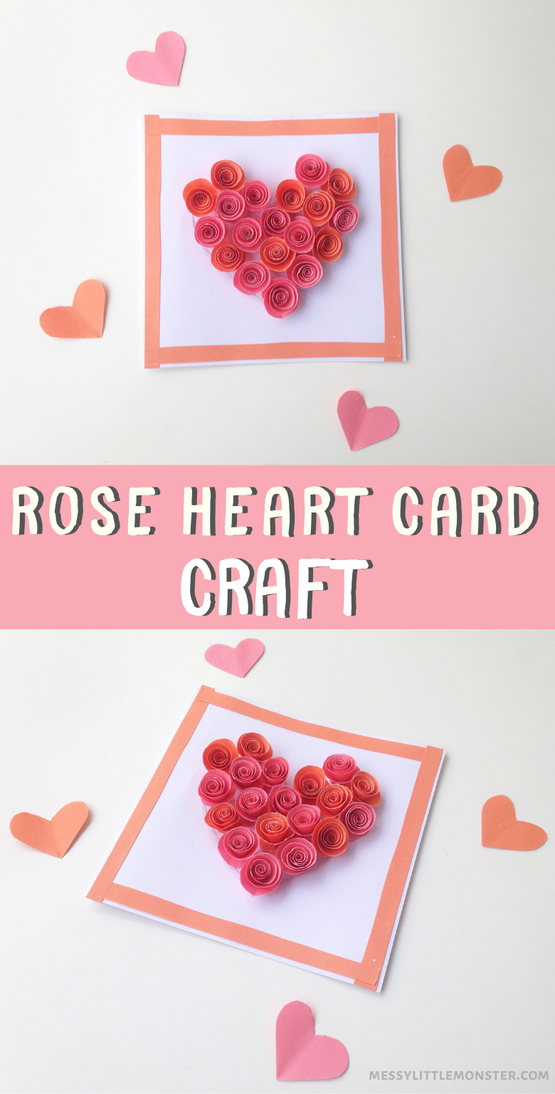 Rose heart craft for kids. Make a heart card from paper roses. A cute Valentine's Day craft for kids or Mother's day craft for kids.