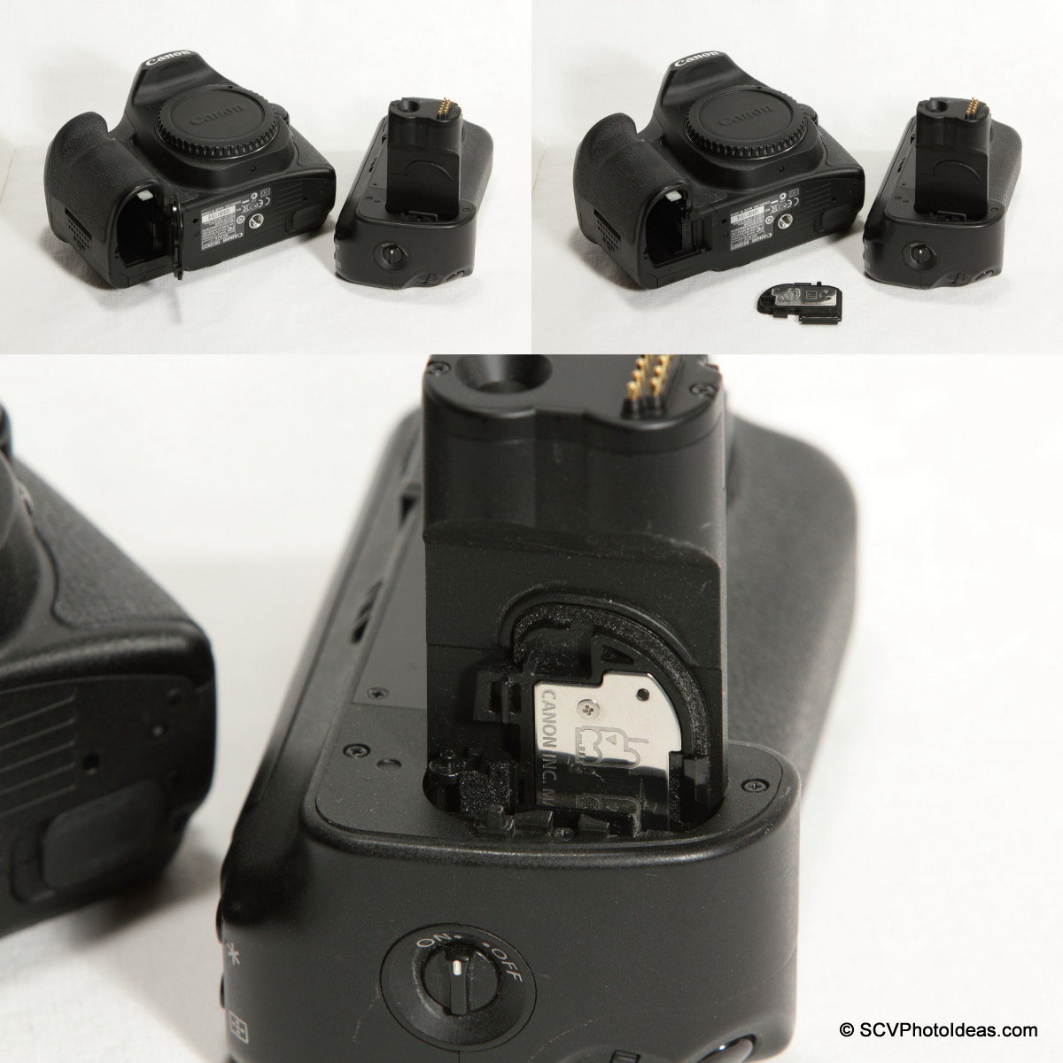 Canon EOS 50D battery door removal and storage