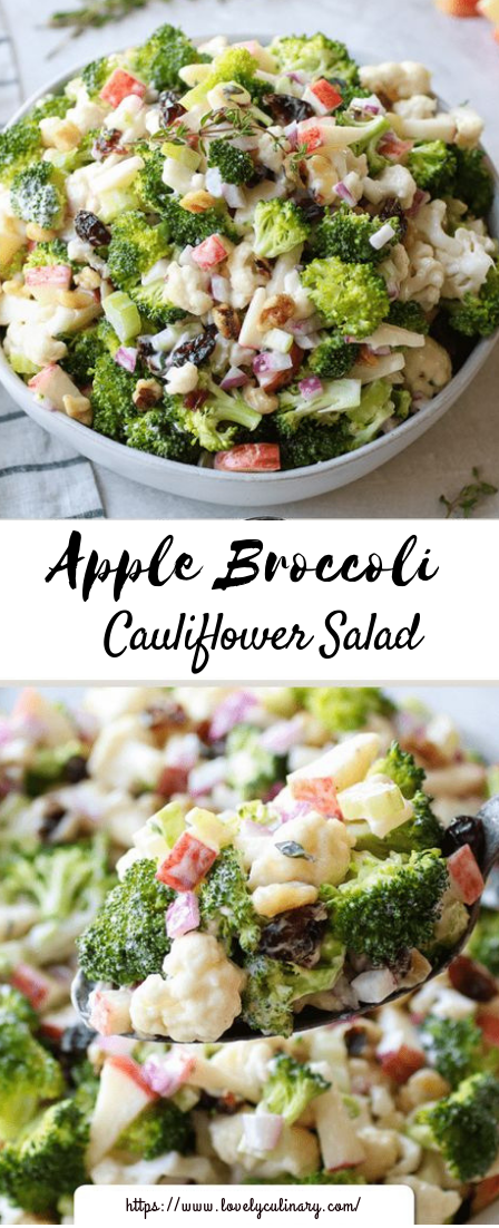 Apple Broccoli Cauliflower Salad #vegetarian #vegan #salad