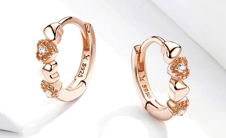 甜美玫瑰金色 925純銀愛心鋯石耳環(小尺寸)