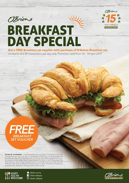O'Briens Irish Sandwich Cafe Malaysia Free Breakfast Set Voucher