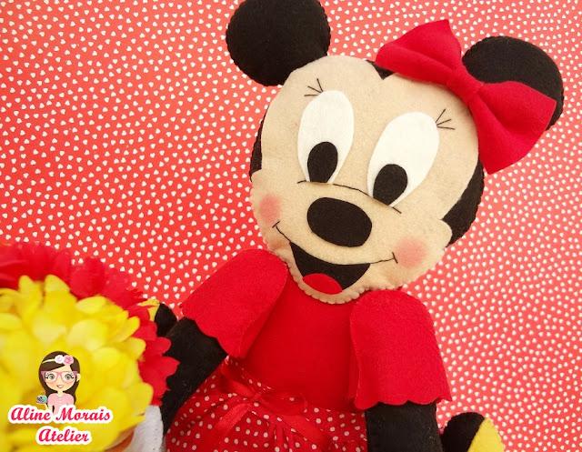 mickey e minnie boneco de feltro centro de mesa aniversário lembrancinha