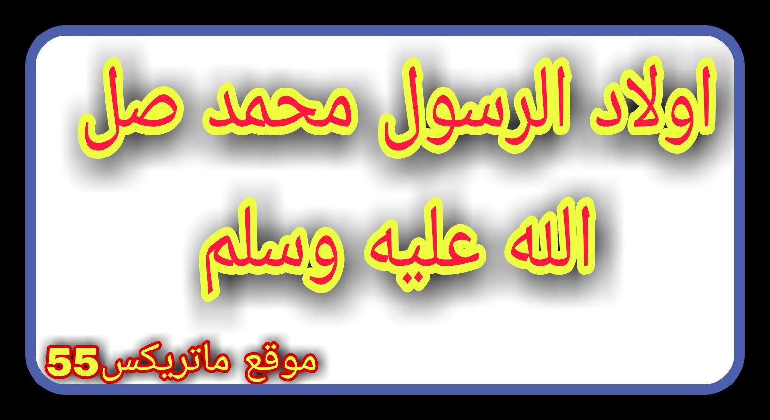 اولاد الرسول محمد صلى الله عليه وسلم   اولاد الرسول محمد ص   اولاد النبي محمد الذكور والاناث