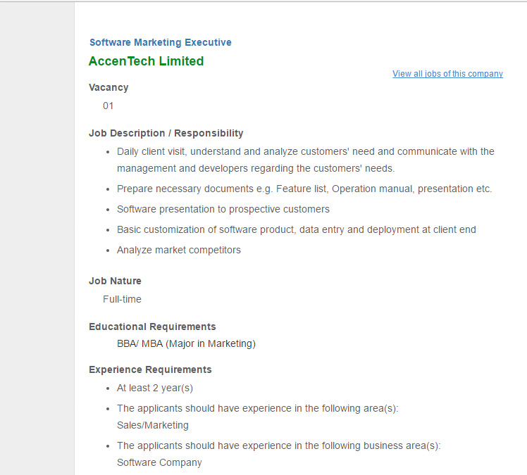 AccenTech Limited Software Marketing Executive Jobs – Marketing Executive Job Description