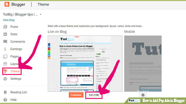 How to Add Pop Ads in Blogger