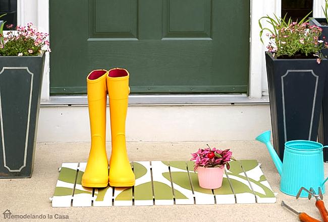 diy - wooden door mat - green and white