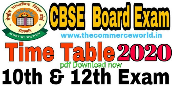 CBSE Board Posponded Exam Time Table2020- Class 10th & 12th