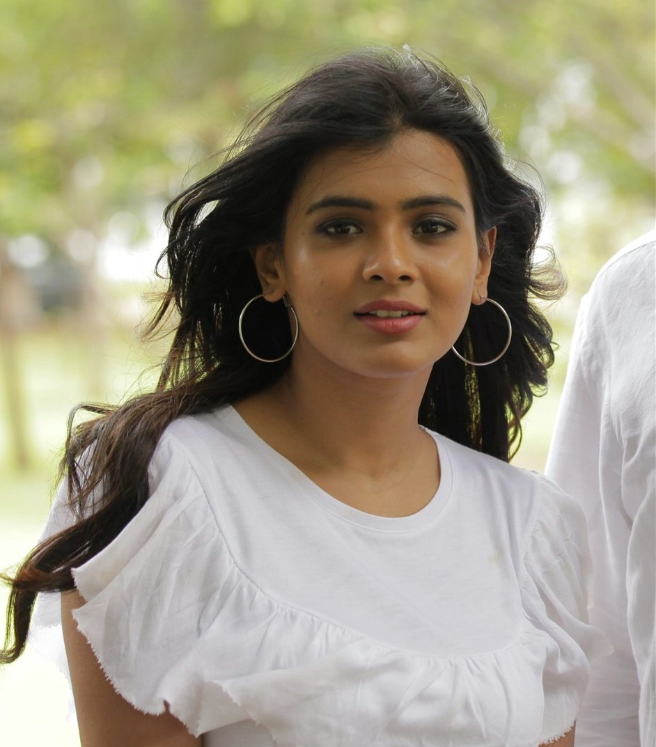 Actress Hebah Patel Long Hair Stills In White Dress