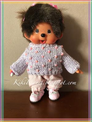 kiki monchhichi poupée doll handmade fait main tricot knitting vêtement fashion création