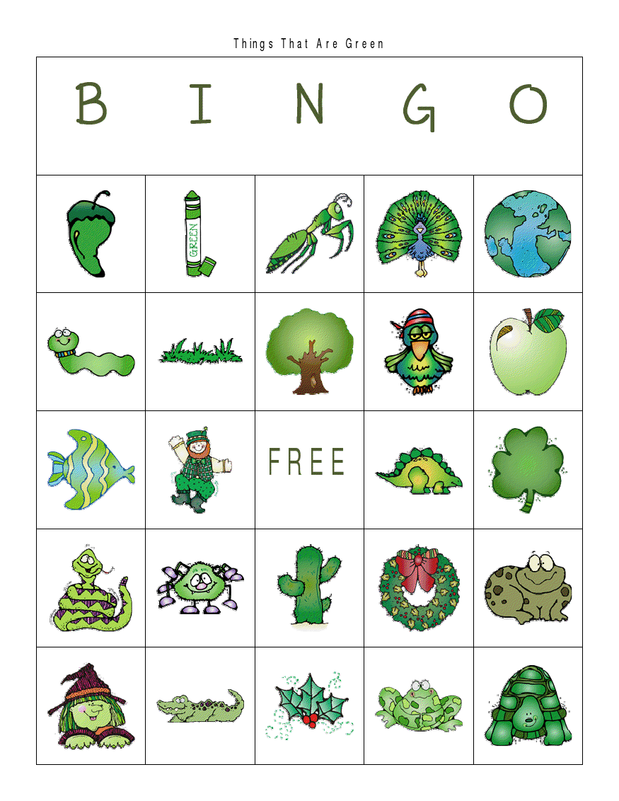 First Grade a la Carte: Things That are Green
