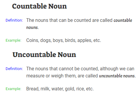 Countable Noun and Uncountable Noun