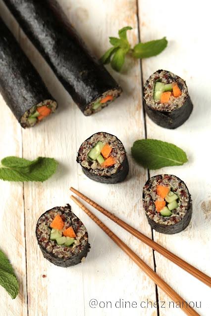 sushis , quinoa , vegan , végétarien , sans allergène , dejeuner équilibré , #healthy #vegan