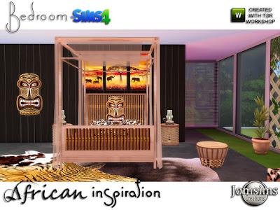 Спальня в африканском стиле для The Sims 4 Спальня африканского вдохновения. Экзотический уголок в ваших домах. в этом наборе. 1 кровать 3 тона 1 столик 3 тона 1 кресло 3 тона 1 пуховка в стиле там там 1 ковры х 4 разных стиля 1 маска на стену 1 наклейка на растение категории растение 1 настенные копья деко 1 балдахин для кровати 3 деко 1 навес 3 декора 1 картины х 3 разных цвета Автор: jomsims