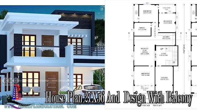 G+1 Storied House Plan 27X56 And  Design With Balcony Modern Building Plan