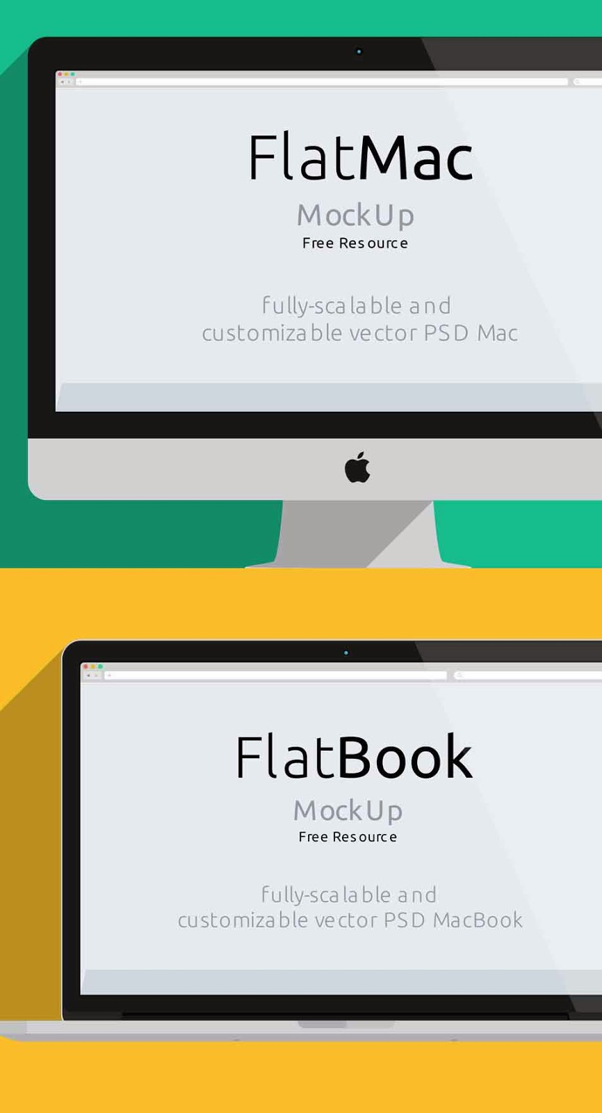 Flat iMac and Macbook PSD Mockup