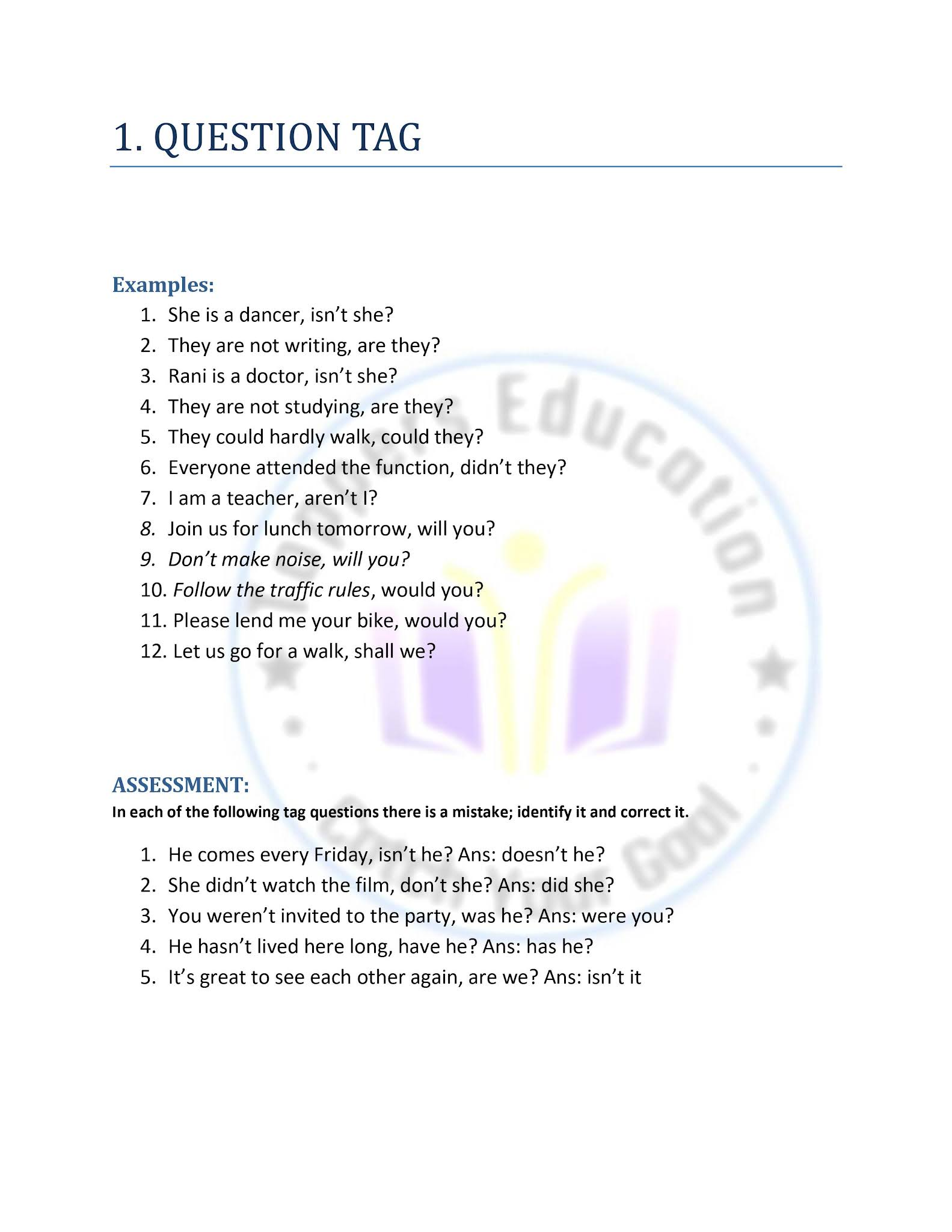 12th English Refresher Course Answer key Question tag