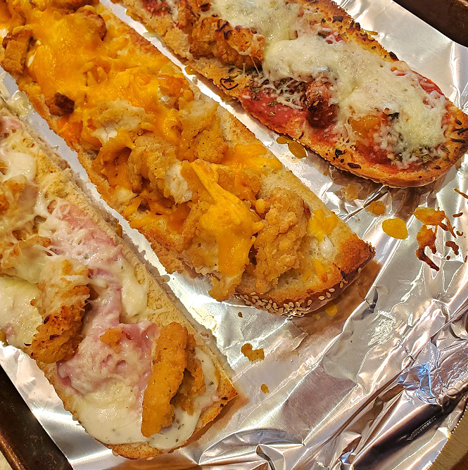 these are filling recipes for stuffed french breads there is chicken cordon bleu, buffalo chicken and taco filled in the photo