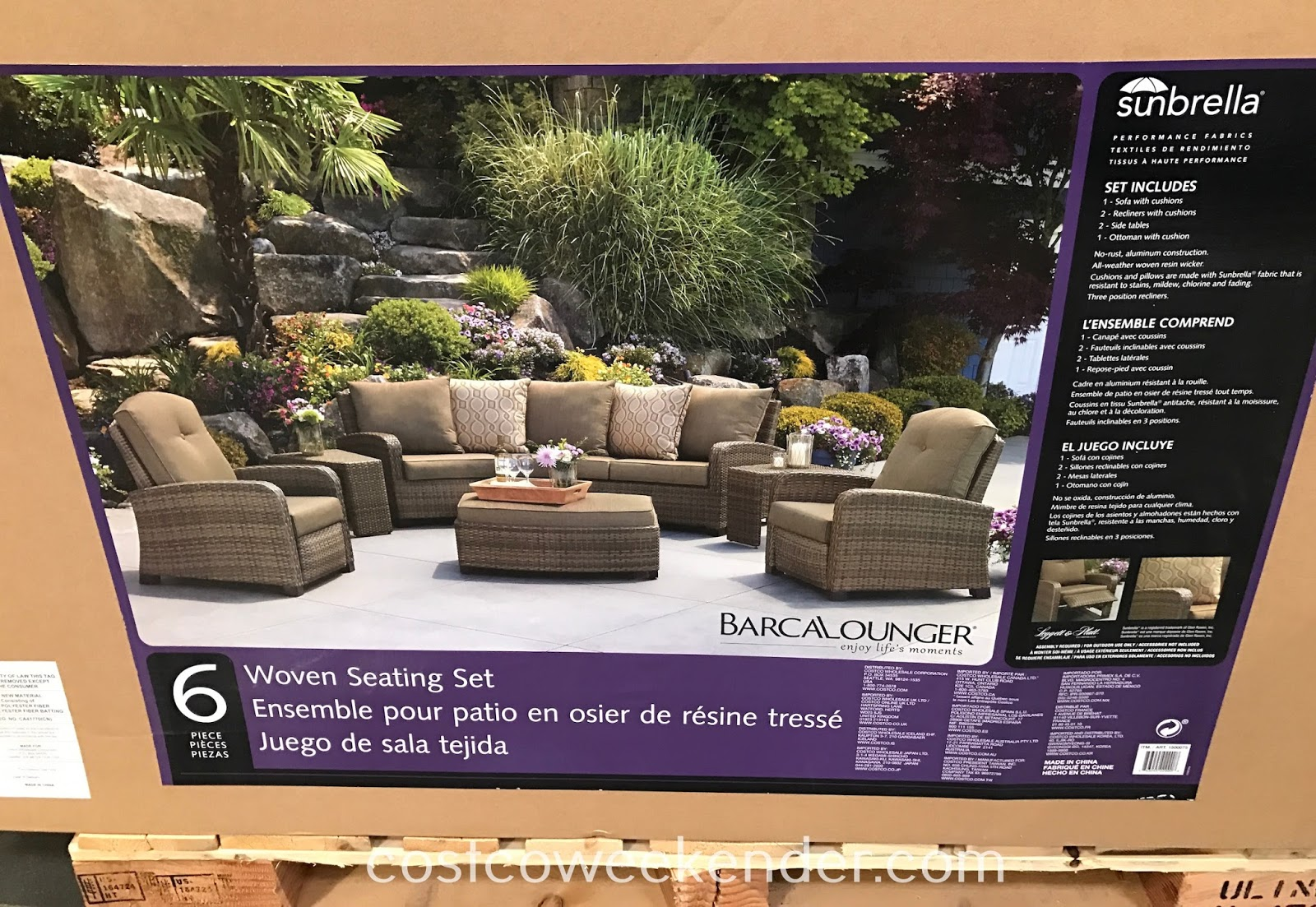 Costco 1500075 - Enjoy the traditional design of wicker with the strength of the aluminum frame with the Barcalounger Woven Theater Seating Set