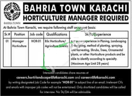 Bahria Town Karachi Jobs for Gardening Manager