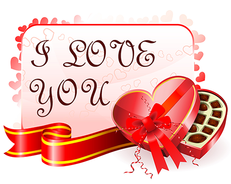 Valentine gift card emoticon