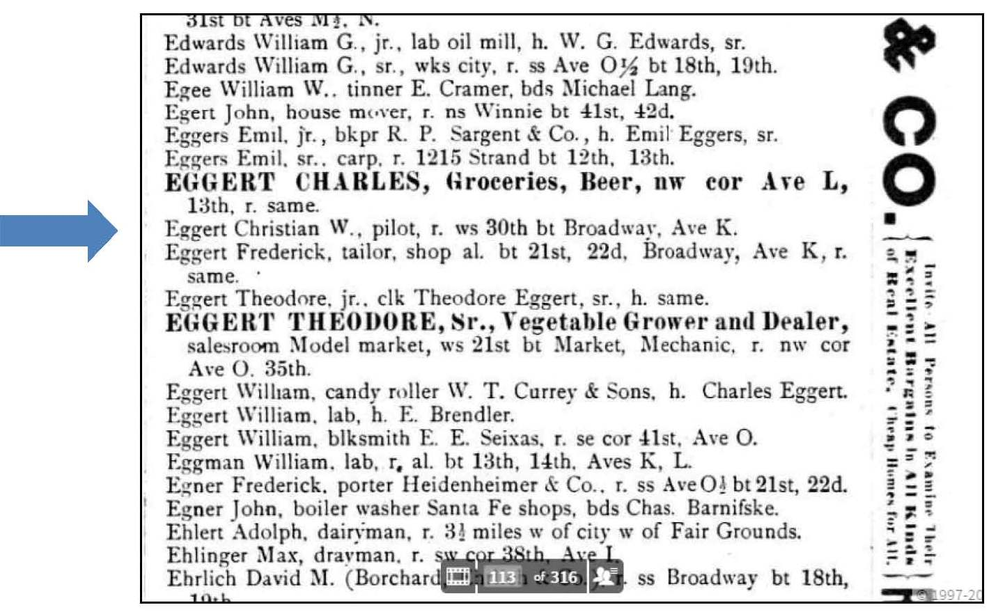 Ancestorpuzzles william c eggert pilot and ship captain 1890 galveston city directory aiddatafo Choice Image