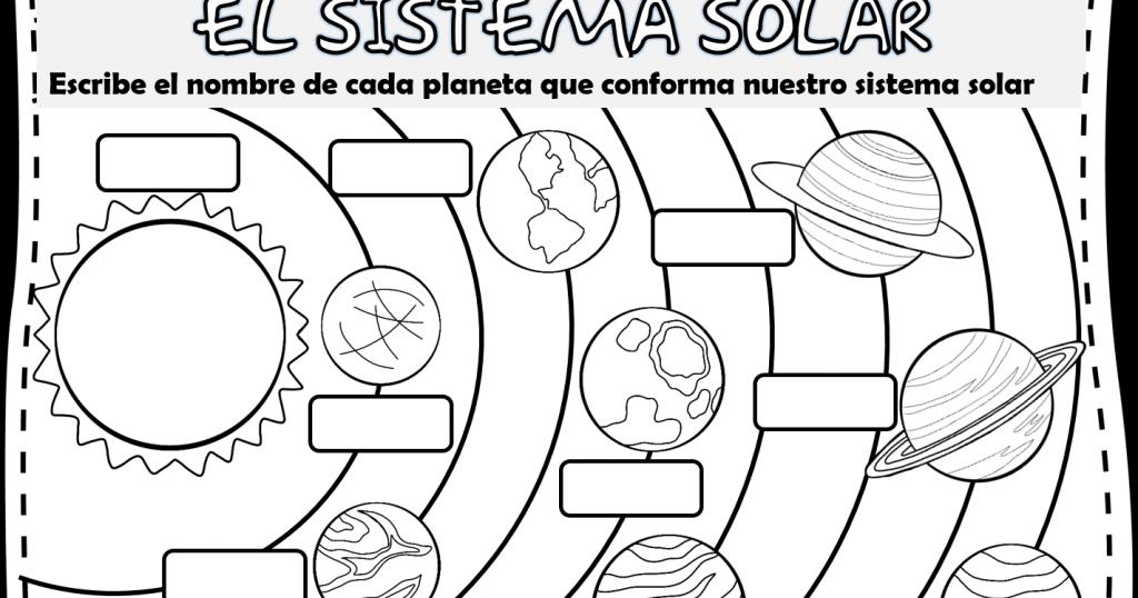 sistema solar para recortar y pegar preescolar sistema
