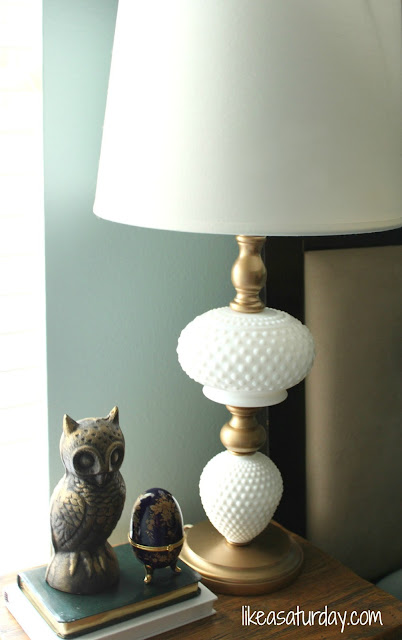Milk glass painted lamp