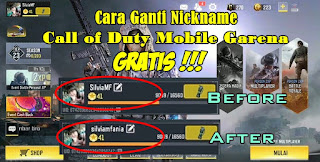 Cara Ganti Nama / Nickname Game Call of Duty Mobile Garena Secara Gratis