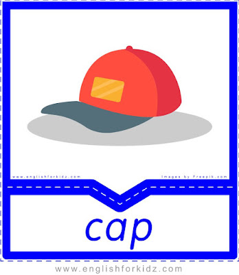 Cap - clothes and accessories flashcards to learn English