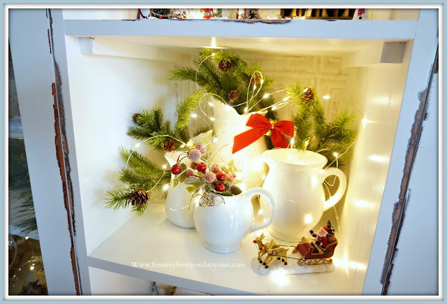 French -Farmhouse- Cottage -White -Dining- Room -Cabinet-Christmas- Vignettes-Ironstone-Pitchers-From My Front Porch To Yours
